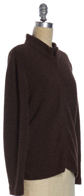 CALVIN KLEIN COLLECTION Brown Wool Zip Front Cardigan Sweater