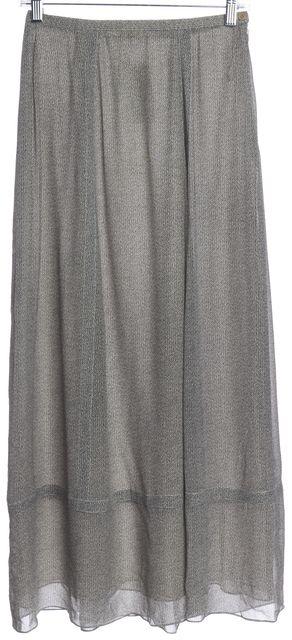 CALVIN KLEIN COLLECTION Black Beige Abstract Print Silk Maxi Skirt