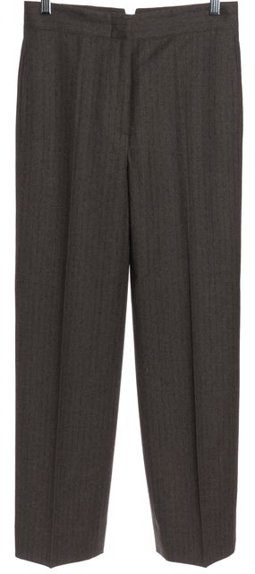 CALVIN KLEIN COLLECTION Green Pinstriped Wide Leg Trousers Pants