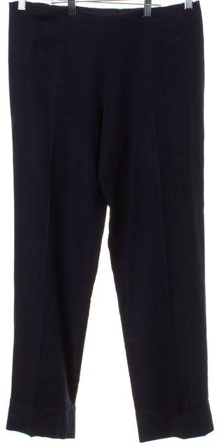 CALVIN KLEIN COLLECTION Navy Blue High Waist Cuffed Dress Pants