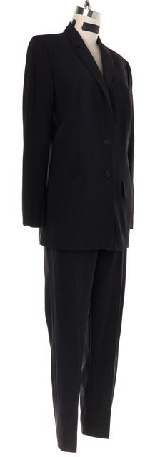 CALVIN KLEIN COLLECTION Gray Wool Pant Suit Suit Set