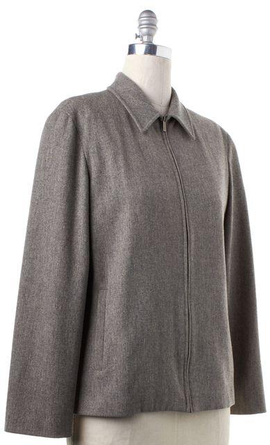 CALVIN KLEIN COLLECTION Gray Wool Zip Up Jacket