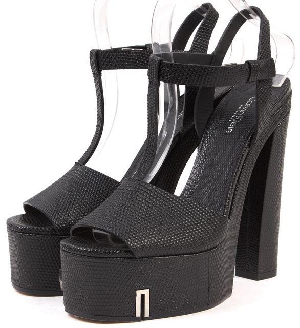 CALVIN KLEIN COLLECTION Black Embossed Leather Platform Sandals