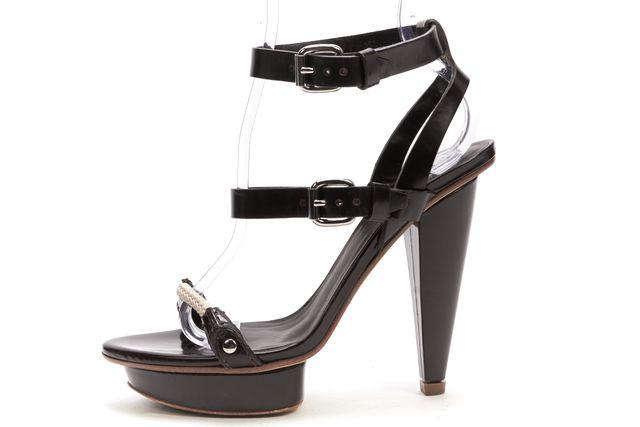 CALVIN KLEIN COLLECTION Brown Leather Ankle Strap Platform Sandals