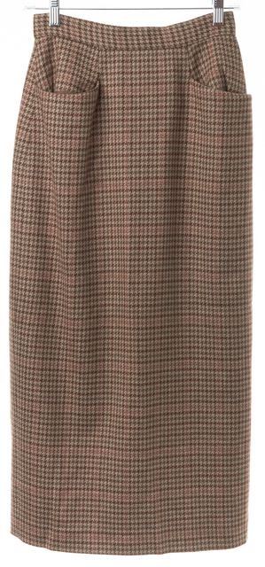CALVIN KLEIN COLLECTION Brown Herringbone Pocket Front Mid-Calf Skirt