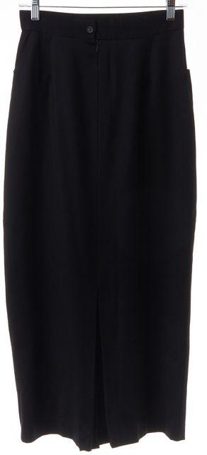 CALVIN KLEIN COLLECTION Black Pleated Back Slit Straight Mid-Calf Skirt