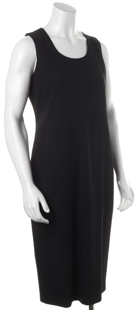 CALVIN KLEIN COLLECTION Black Wool Casual Sheath Mid-Calf Career Dress