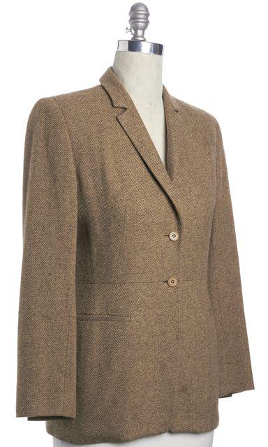 CALVIN KLEIN COLLECTION Brown Beige Casual Button Front Casual Tweed Blazer