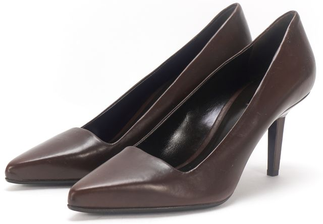 CALVIN KLEIN COLLECTION Brown Leather Pointy Toe Pump
