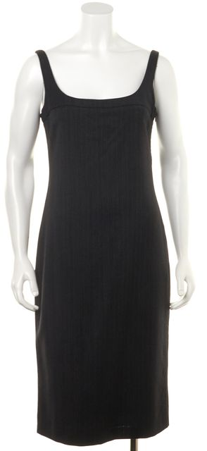 CALVIN KLEIN COLLECTION Gray Striped Wool Pencil Dress