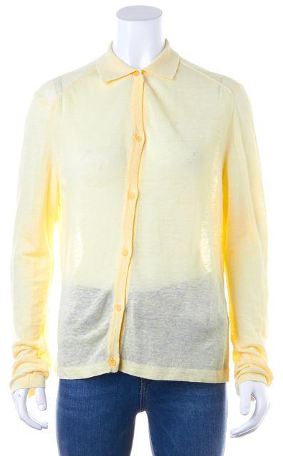 CALVIN KLEIN COLLECTION Yellow Button Up Linen Cardigan