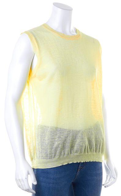 CALVIN KLEIN COLLECTION Yellow Linen Blouse Top