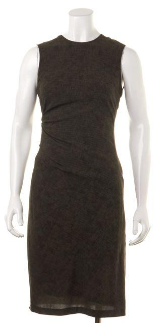 CALVIN KLEIN COLLECTION Green Black Abstract Stretch Silk Sheath Dress