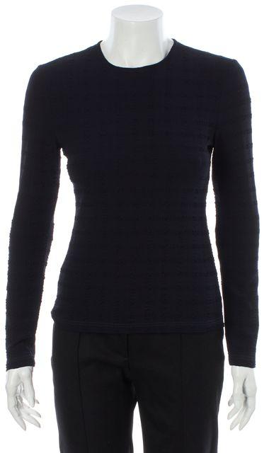 CALVIN KLEIN COLLECTION Dark Navy Blue Puckered Textured Wool Blouse Top