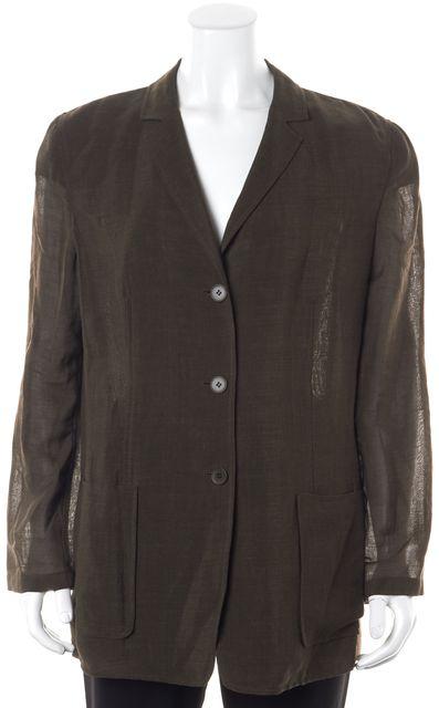 CALVIN KLEIN COLLECTION Dark Green Basic Semi Sheer Button Up Jacket