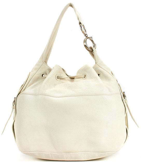 CALVIN KLEIN COLLECTION Ivory Pebbled Leather Bucket Shoulder Bag
