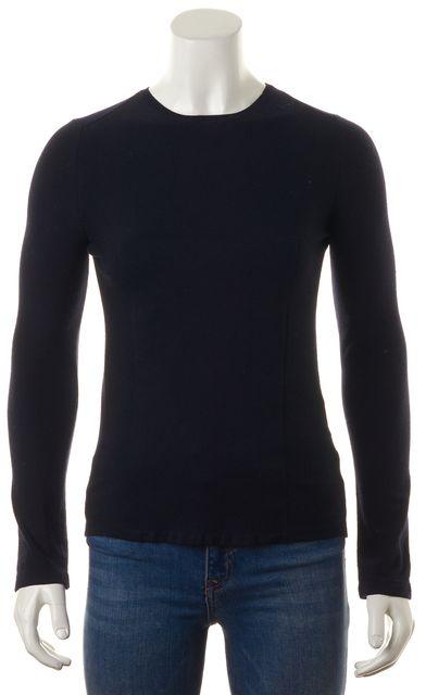 CALVIN KLEIN COLLECTION Navy Blue Merino Wool Crewneck Sweater
