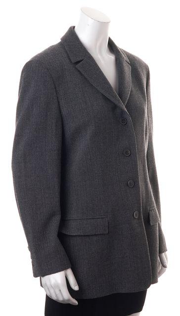 CALVIN KLEIN COLLECTION Gray Herringbone Wool Long Blazer Jacket
