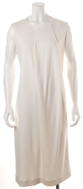 CALVIN KLEIN COLLECTION White Sleeveless Pleated Shift Dress