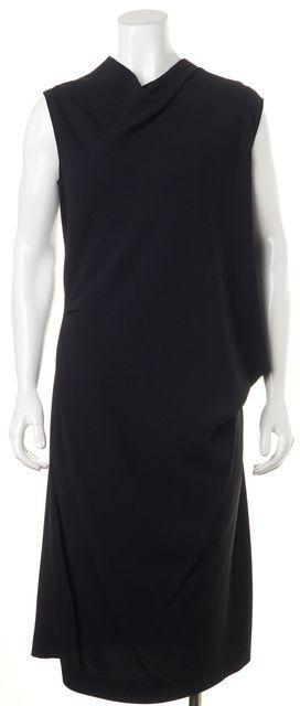 CALVIN KLEIN COLLECTION Black Draped Cowl Neck Midi Shift Dress