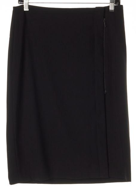 CALVIN KLEIN COLLECTION Black Wool Zip Straight Skirt