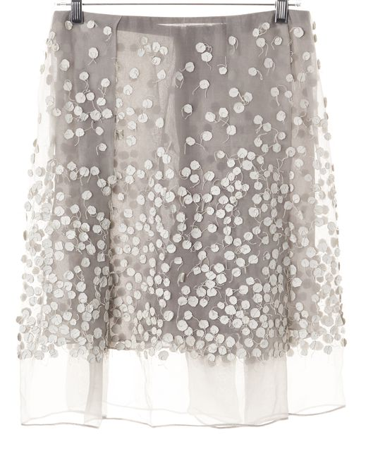CALVIN KLEIN COLLECTION Gray Leather Embellished Silk Skirt