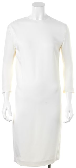 CALVIN KLEIN COLLECTION White Viscose Long Sleeve Mid-Calf Shift Dress