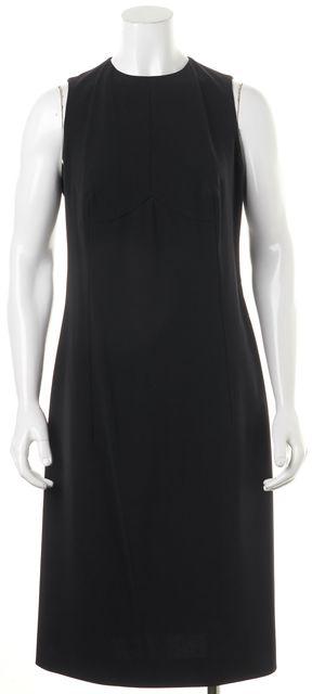 CALVIN KLEIN COLLECTION Black Silk Sleeveless Mid-Calf Sheath Dress