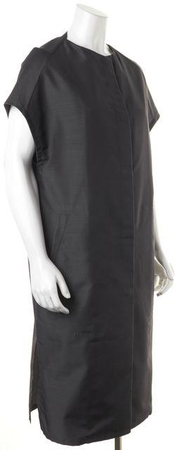 CALVIN KLEIN COLLECTION Charcoal Gray Button Front Silk Basic Jacket