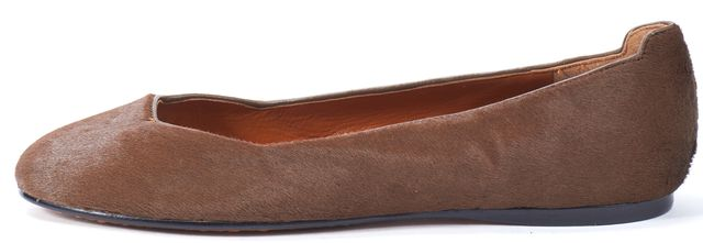 CALVIN KLEIN COLLECTION Brown Calf-Hair Leather Trim Cleo Flats