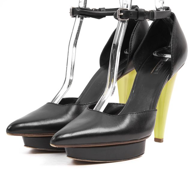 CALVIN KLEIN COLLECTION Black Yellow Leather Pointed Toe Platform Shoes