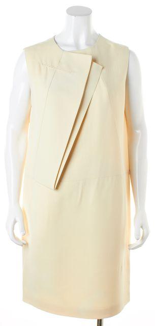 CALVIN KLEIN COLLECTION Beige Silk Sleeveless Shift Dress