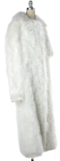 CALVIN KLEIN COLLECTION White Full Feather Long Coat