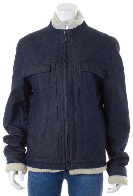 CALVIN KLEIN COLLECTION Dark Blue Removable Lining Jean Jacket