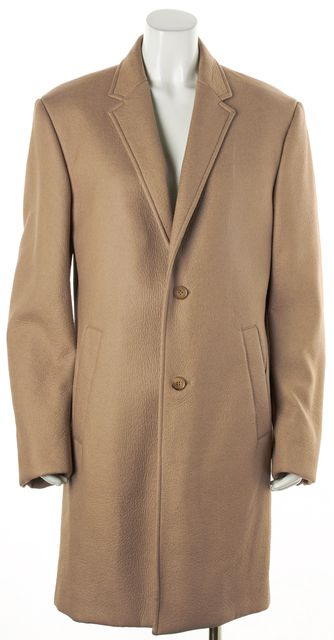 CALVIN KLEIN COLLECTION Beige Coated Wool Long Jacket