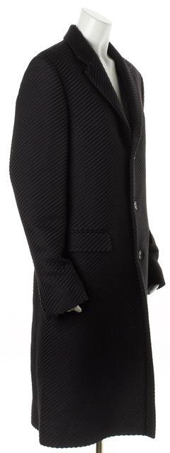 CALVIN KLEIN COLLECTION Black Striped Wool Silk Long Jacket