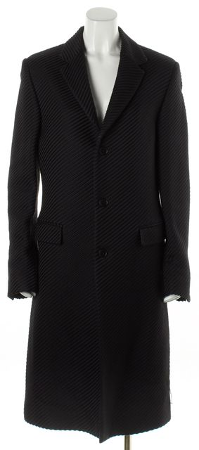 CALVIN KLEIN COLLECTION Black Striped Wool Silk Long Jacket
