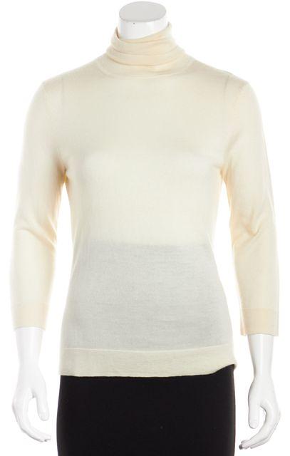 CALVIN KLEIN COLLECTION Beige Ruth 3/4 Sleeve Turtleneck Sweater