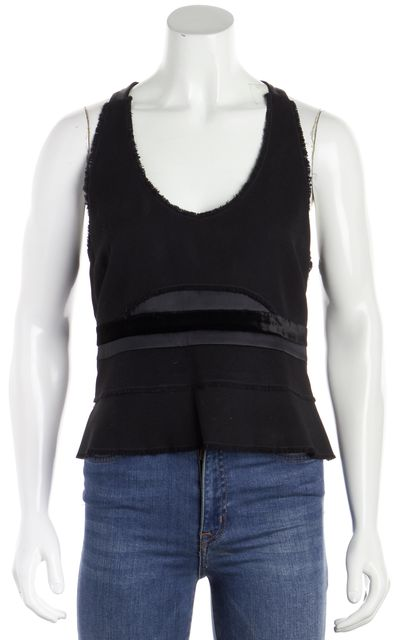 CALVIN KLEIN COLLECTION Black Mixed Media Racerback Blouse Tank Top