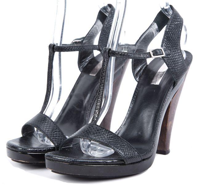 CALVIN KLEIN COLLECTION Black Leather T-Strap Heels