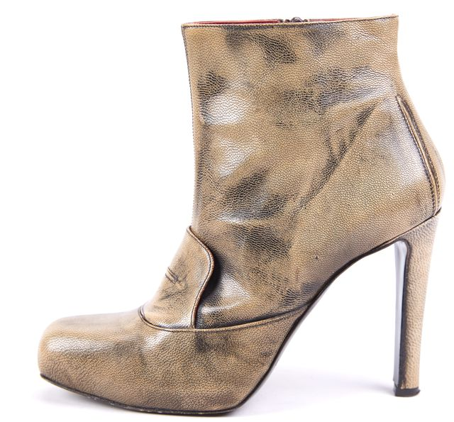 CALVIN KLEIN COLLECTION Tarnished Gold Leather Ankle Boot Heels