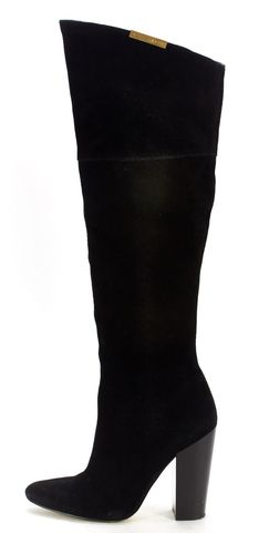 CALVIN KLEIN Black Suede Pointed Toe Knee High Boots
