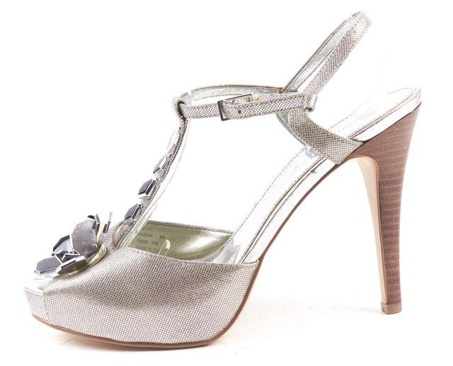 CALVIN KLEIN Silver Floral Embellished T-Strap Open Toe Platform Heels