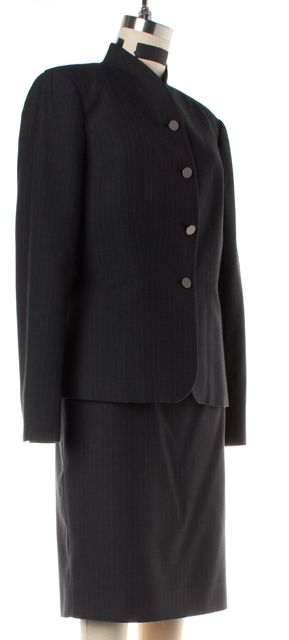 CALVIN KLEIN Charcoal Gray Pinstriped Skirt Suit Set