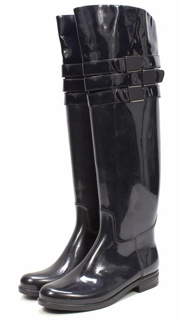 CALVIN KLEIN Black Rubber Patent Knee High Rainboots