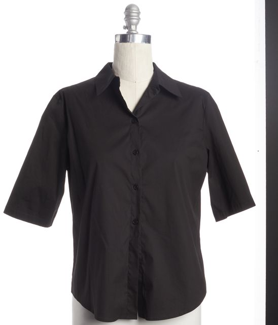 CALVIN KLEIN Classic Casual Black Button Down Shirt Top