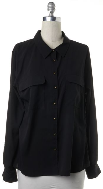 CALVIN KLEIN Black Button Down Relaxed Fit Casual Blouse Top