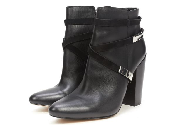 CALVIN KLEIN Black Casual Leather Wrap Around Strap Chunky Heel Ankle Boot