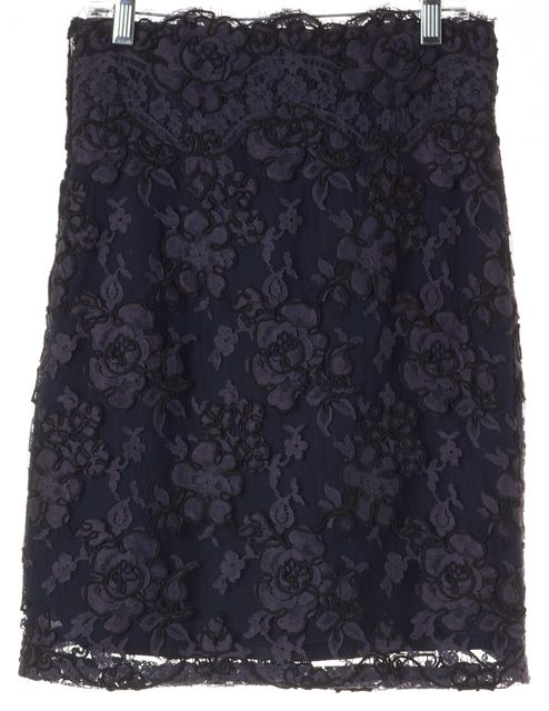 CALVIN KLEIN Blue Black Floral Embroidered Mesh Overlay Straight Skirt