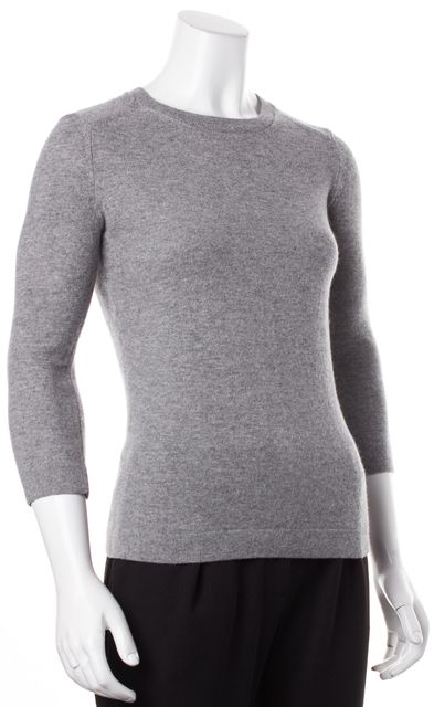CALVIN KLEIN Gray Cashmere Knit 3/4 Sleeve Fitted Crewneck Sweater